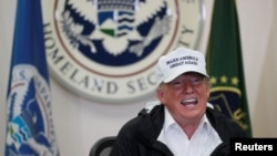 President Donald Trump speaks during a roundtable discussion with officials after arriving for a visit to the U.S.-Mexico border at McAllen-Miller International Airport in McAllen, Texas, Jan. 10, 2019.