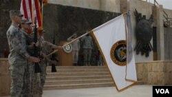 Upacara di Baghdad yang secara resmi menyatakan berakhirnya misi pasukan AS dalam perang di Irak (15/12).