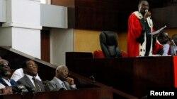Le président de la cour d'assise d'Abidjan lors du procès de Somone Gbagbo, l'ancienne première dame ivoirienne.