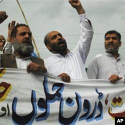 Des militants du parti pakistanais Jamaat-e-Islami protestant contre l'élimination d'Oussama Ben Lden