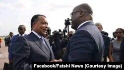 Le président du Congo, Denis Sassou N'Guesso, accueille son homologue de la RDC, Félix Tshisekedi, à Brazzaville, le 7 février 2019. (Facebook/Fatshi News)