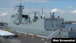 中國海軍編隊的三艘軍艦靠岸美國海軍第三大軍港弗羅里達的梅波特港。