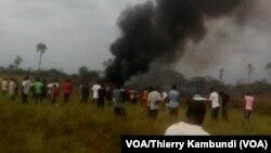 Crash d'avion à Kinshasa, aucun survivant, 30 septembre 2017. (VOA/Thierry Kambundi)