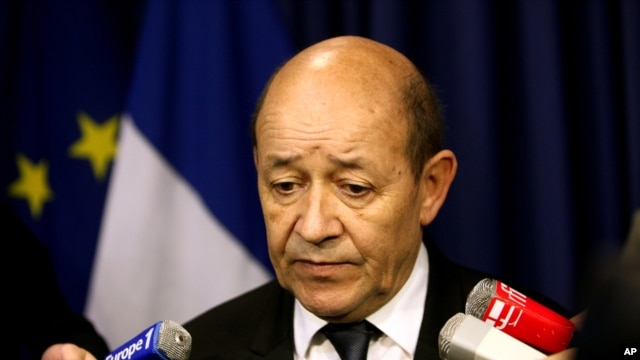 Franch Defense Minister Jean-Yves Le Drian speaks after a press conference, in Paris, January 12, 2013.