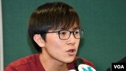 香港中文大學學生會會長蘇浚鋒。(美國之音 湯惠芸拍攝)