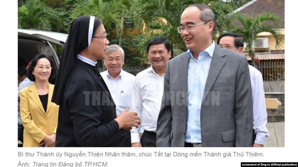 Bí thư Tp.HCM Nguyễn Thiện Nhân thăm một tu viện ở Thủ Thiêm, 2/2/2019