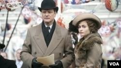 Colin Firth (kiri) dan Helena Bonham Carter dalam film 'The King's Speech.' Film ini dijagokan banyak orang untuk memenangkan piala Oscar terbanyak tahun ini.
