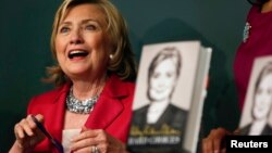"Hillary Clinton speaks during a book signing of her new book ""Hard Choices"" in New York June 10, 2014."