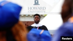 FILE - Actor Chadwick Boseman addresses the 150th commencement ceremony at Howard University in Washington, May 12, 2018.