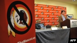 FILE - Ray Halbritter, Oneida Indian Nation Representative, speaks at a press conference after meeting with senior officials of the National Football League about changing the mascot name of the Washington Redskins in New York.