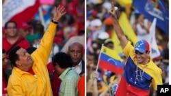 Đương kim Tổng thống Venezuela Hugo Chavez và ứng viên đối lập Henrique Capriles