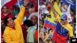 Presiden Venezuela Hugo Chavez (kiri) melakukan , kampanye di Guarenas, sementara Capres oposisi Henrique Capriles melakukan kampanye di ibukota Caracas (foto: dok).