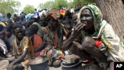 A handout picture from UNMIS shows internally displaced persons (IDP) waiting for the distribution of aid during a visit by UN humanitarian chief John Holmes in the town of Akobo in southern Sudan, 8 May 2009