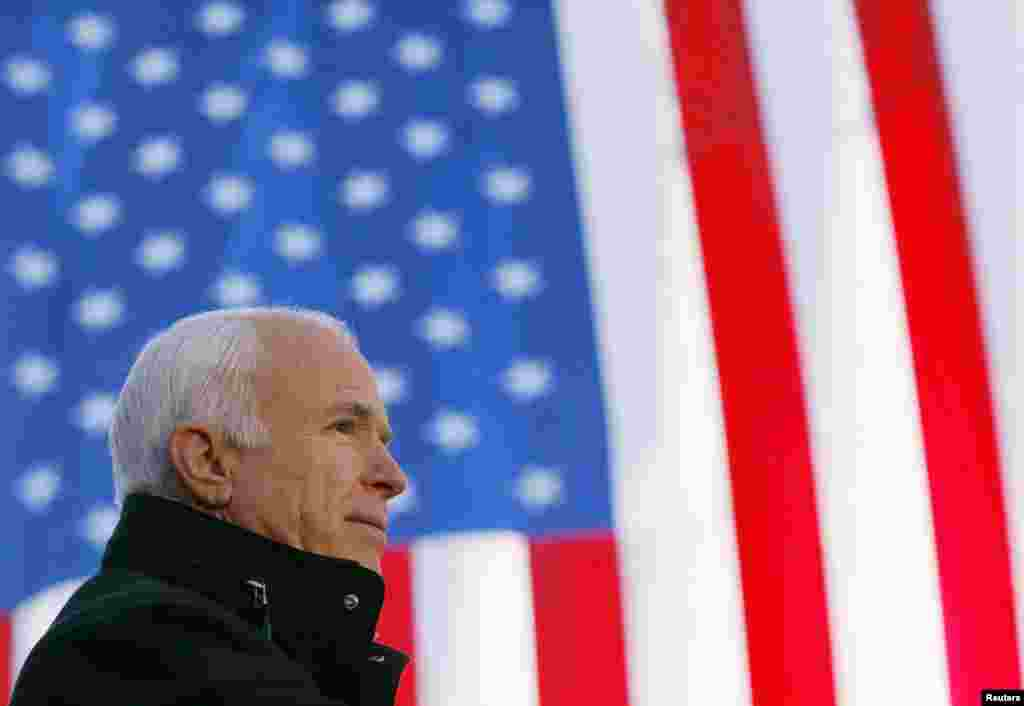 U.S. Republican presidential nominee Senator John McCain (R-AZ) speaks at a campaign rally in Defiance, Ohio, Oct. 30, 2008.