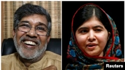 Combination photo shows the two winners of the 2014 Nobel Peace Prize Indian children's right activist Kailash Satyarthi (L) laughing at his office in New Delhi and Pakistani schoolgirl Malala Yousafzai speaking at Birmingham library in Birmingham, centra