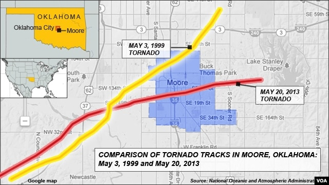 Comparison of Tornado paths in Moore, Oklahoma - May 3, 1999 and May 20, 2013
