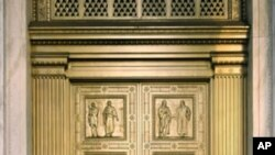 Bronze doors with eight bas-relief panels depicting scenes in the development of Western law by John Donnelly & Sons