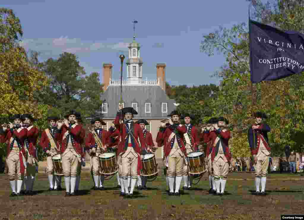 Fifes and Drums of Colonial Williamsburg in front of the Governor's Palace. (Courtesy Colonial Williamsburg Foundation)