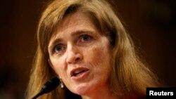 Calon Duta Besar AS untuk PBB, Samantha Power mengatakan mengecam tanggapan DK PBB terhadap pembantaian di Suriah dalam kesaksian di depan Komite LN Senat AS, Rabu (17/7).