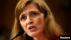 사만다 파워 유엔주재 미국대사 지명자가 17일 미 상원 인준청문회에서 증언하고 있다.