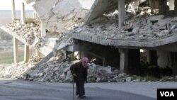 یک ساحه ویران در ولایت ادلیب، سوریه