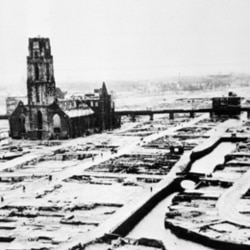 The city of Rotterdam in the Netherlands after a German air raid on May 14, 1940