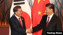 中国国家主席习近平与韩国总统文在寅在越南岘港出席亚太经合组织峰会时见面握手。(2017年11月11日)