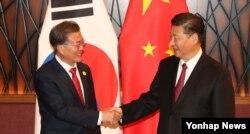 지난달 11일 베트남 다낭에서 열린 아시아·태평양경제협력체(APEC) 정상회의에 참석한 시진핑 중국 국가주석(오른쪽)과 문재인 한국 대통령이 양자회담을 가졌다.