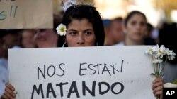 Imagem de arquico de uma manifestação em Caracas, ca+pital da Venezuela