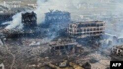 نمایی از کارخانهای که در آن انفجار صورت گرفته