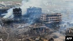 Những tòa nhà bị tàn phá sau một vụ nổ tại một nhà máy hóa chất ở thành phố Diêm Thành ithuộc tỉnh Giang Tô của Trung Quốc, ngày 22 tháng 3, 2019.