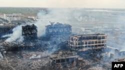 中国江苏省响水县化工厂2019年3月22日发生大爆炸后的厂区现场。