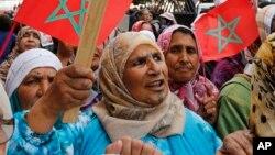 Des marocaines manifestent à Rabat pour plus de droits lors de la journée international des femmes, le 8 mars 2015. Source: AP