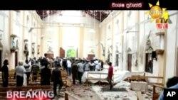 تصویری از یک ویدئو که تلویزیون هیرو سریلانکا از کلیسای سنت آنتونی بعد از انفجار روز یکم اردیبهشت منتشر کرده است.
