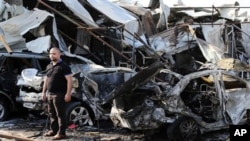 2014年11月17日巴格达东部汽车炸弹爆炸事件现场