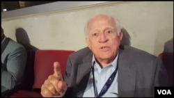 Puerto Rico delegate and former governor Carlos Ramirez Barcelo at the Democratic National Convention in Philadelphia, Pennsylvania, July 27, 2016. (Photo: Bill Gallo / VOA )