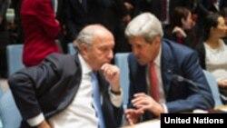 جان كري و لوران فابيوس درنشست شوراي امنيت درباره عراق. جمعه 1۹ سپتامبر، سازمان ملل متحد، نيويورك