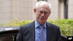26일 벨기에 브루셀에서 열린 회의에 참석한 헤르만 반 롬푀이 유럽연합 정상회의 상임의장.