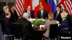 باراک اوباما در جمع رهبران کشورهایی که در مذاکرات هسته ای با ایران حضور داشتند.