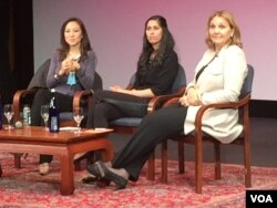From left, Peggy Liu, Aamina Awan and Josette Sheeran discussed effects of the 1995 Bejing conference after the screening. (Credit: Michael Lamon/VOA)