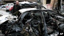 지난 21일 시리아 밥 투마 지역의 경찰서 인근에서 일어난 차량폭탄 테러.