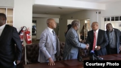 FILE: Tsvangirai and Welshman Ncube soon after signing Memorandum of Understanding. (Picture: MDC-T)