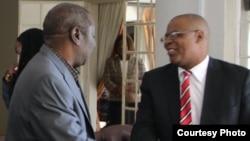 Tsvangirai and Welshman Ncube soon after signing Memorandum of Understanding. (Picture: MDC-T)
