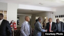 Tsvangirai and Welshman Ncube soon after signing Memorandum of Understanding. (Picture: MDC-T)