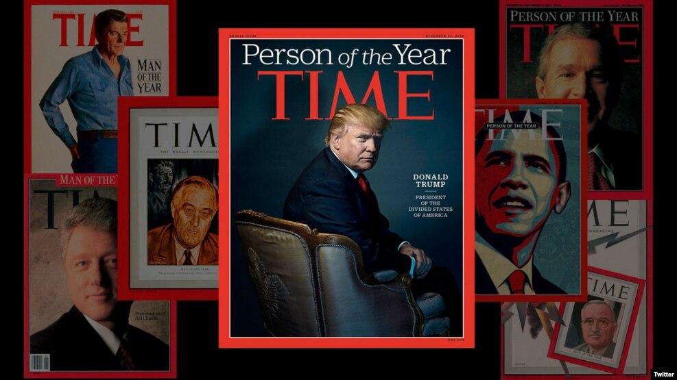 Hình ảnh Tổng thống đắc cử Donald Trump trên bìa tạp chí Time khi ông được bầu chọn là nhân vật của năm 2016.
