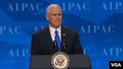 Wakil Presiden Amerika, Mike Pence memberikan sambutan pada konferensi tahunan aktivis pro-Israel, AIPAC, di Washington DC (26/3).