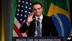 Allocution du président brésilien Jair Bolsonaro devant la chambre de commerce de Washington le 18 mars 2019.