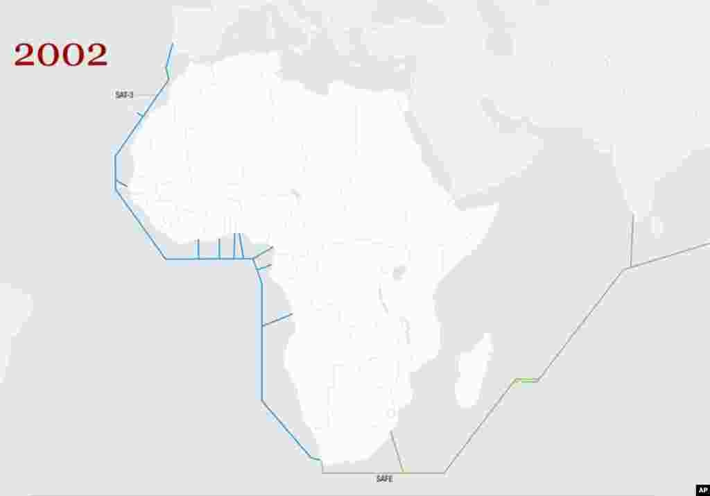 2002 - 2009: There is only one submarine cable, the SAT-3, going up the western coast of Africa from South Africa to Europe. (Graphics courtesy of Telegeography)