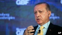 Turkey's President Recep Tayyip Erdogan speaks at the Bloomberg Global Business Forum, Sept. 20, 2017, in New York.