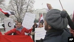 Egyptian Americans demonstrate outside the White House